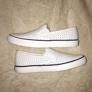 Sperry white slip ons new in box & never worn